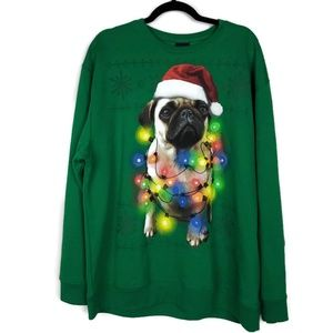 Fifth Sun Pug Christmas Lights Sweater Size XL